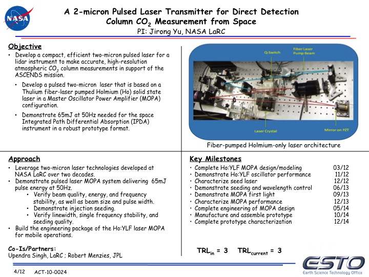 Project Image   A 2-Micron Pulsed Laser Transmitter for Direct Detection Column CO2 Measurement from Space