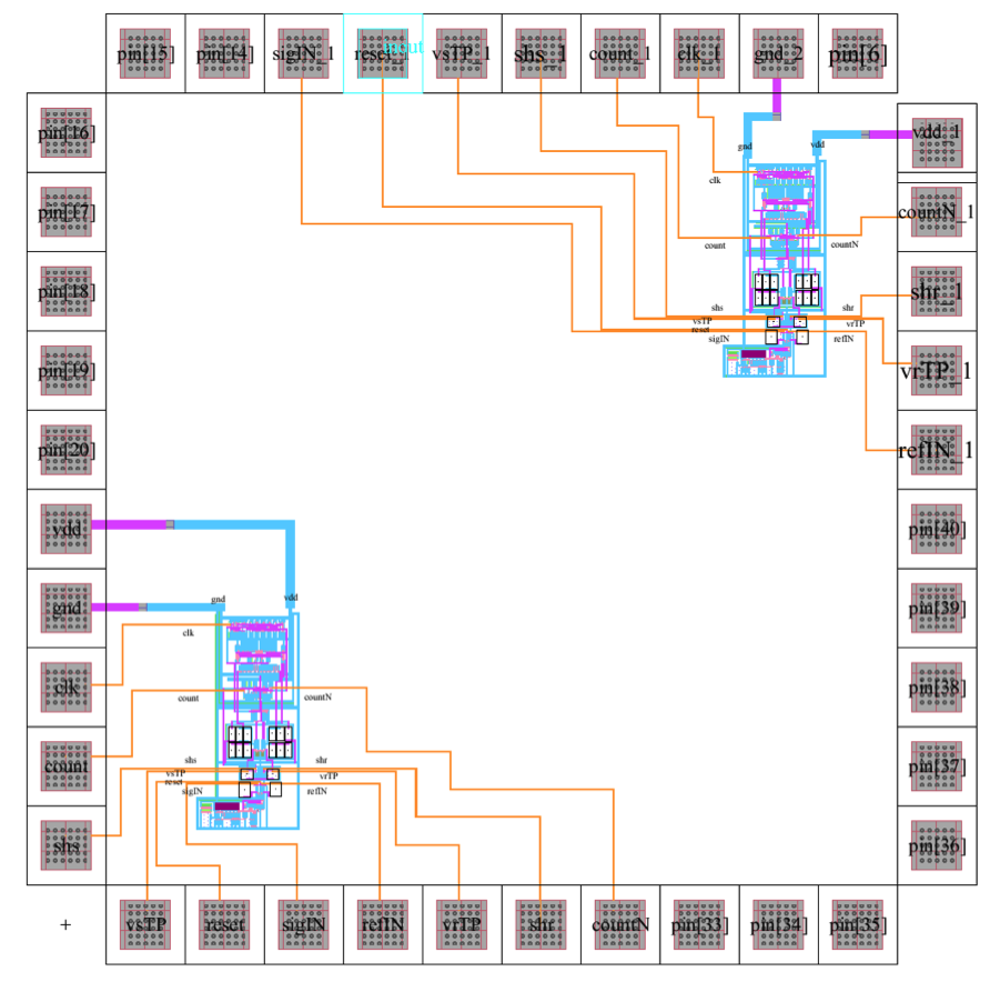 40-pin integrated circuit physical layout