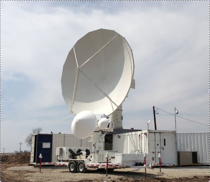 NASA's Dual-polarization, dual-frequency, Doppler (D3R) radar [front] and S-band NPOL radar [back]
