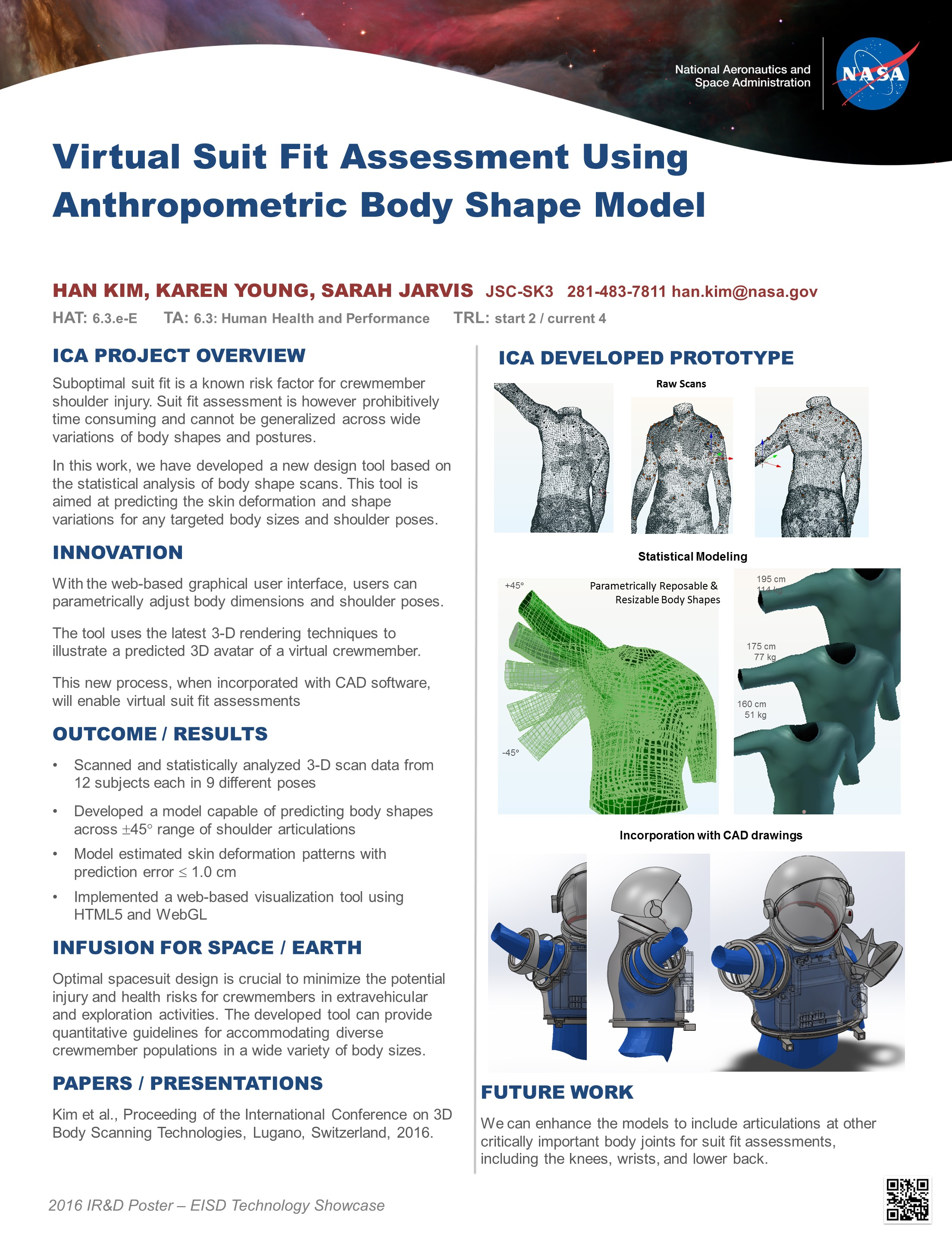 Virtual Suit Fit Assessment Using Body Shape Model Technology Showcase 2016 Poster