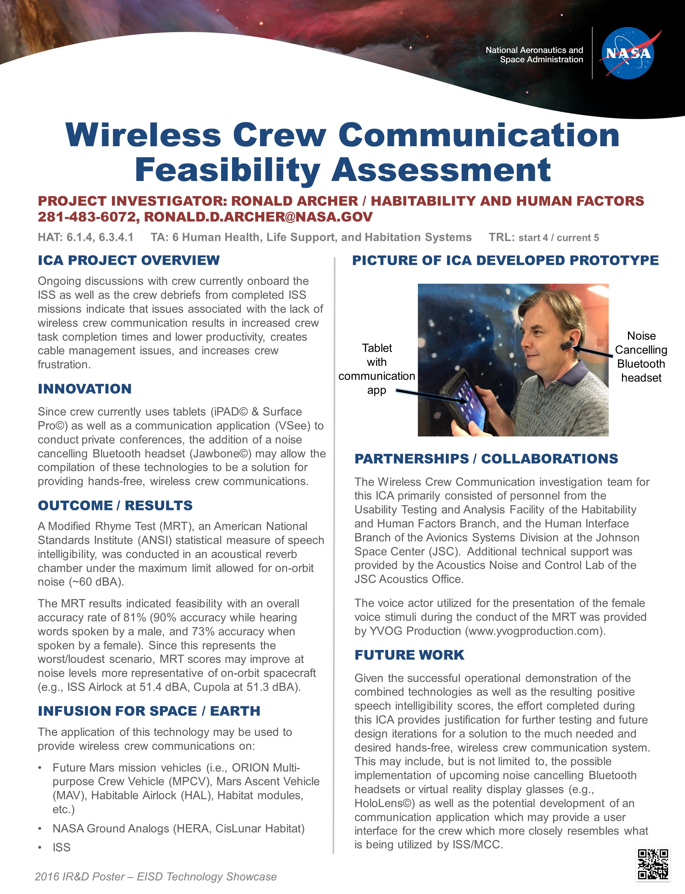 Wireless Crew Communication Technology Showcase 2016 Project Poster