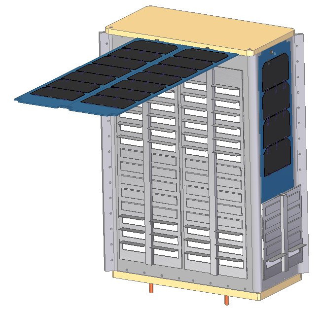This image depicts a 6U CubeSat with rows of CubeSat thermal louvers on the side behind the deployed solar panels.