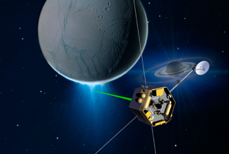Conceptual image of a possible future mission using laser based trapping to capture ice plum particles emitting from Enceladus