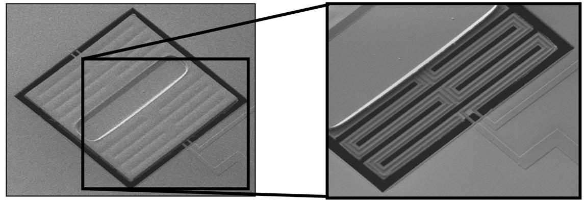 (LEFT) Micrograph of 100x100 um2 pixels built and characterized in MDL. (RIGHT) If the silicon nitride absorber is removed, then the thermoelectric lines on silicon nitride support beams are exposed.