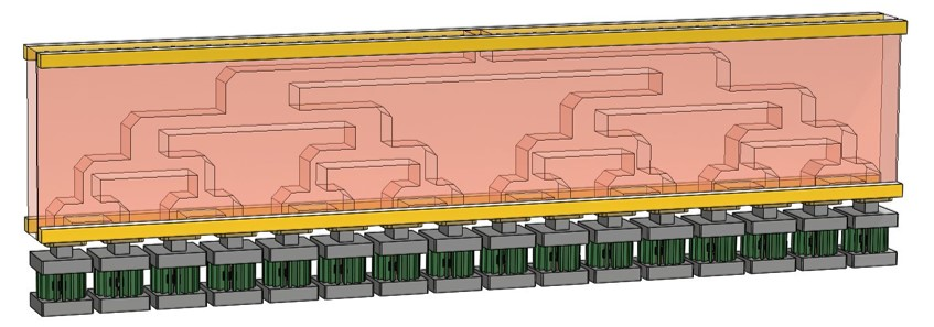 Waveguide combiner which combines sixteen 1kW modules to produce 16kW RF output unit.