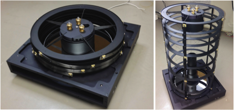 FY13 Collapsible Space Telescope lab item in collapsed and deployed configuration shown with manual adjustment screws used to align optical components (gold at top of spider assembly).