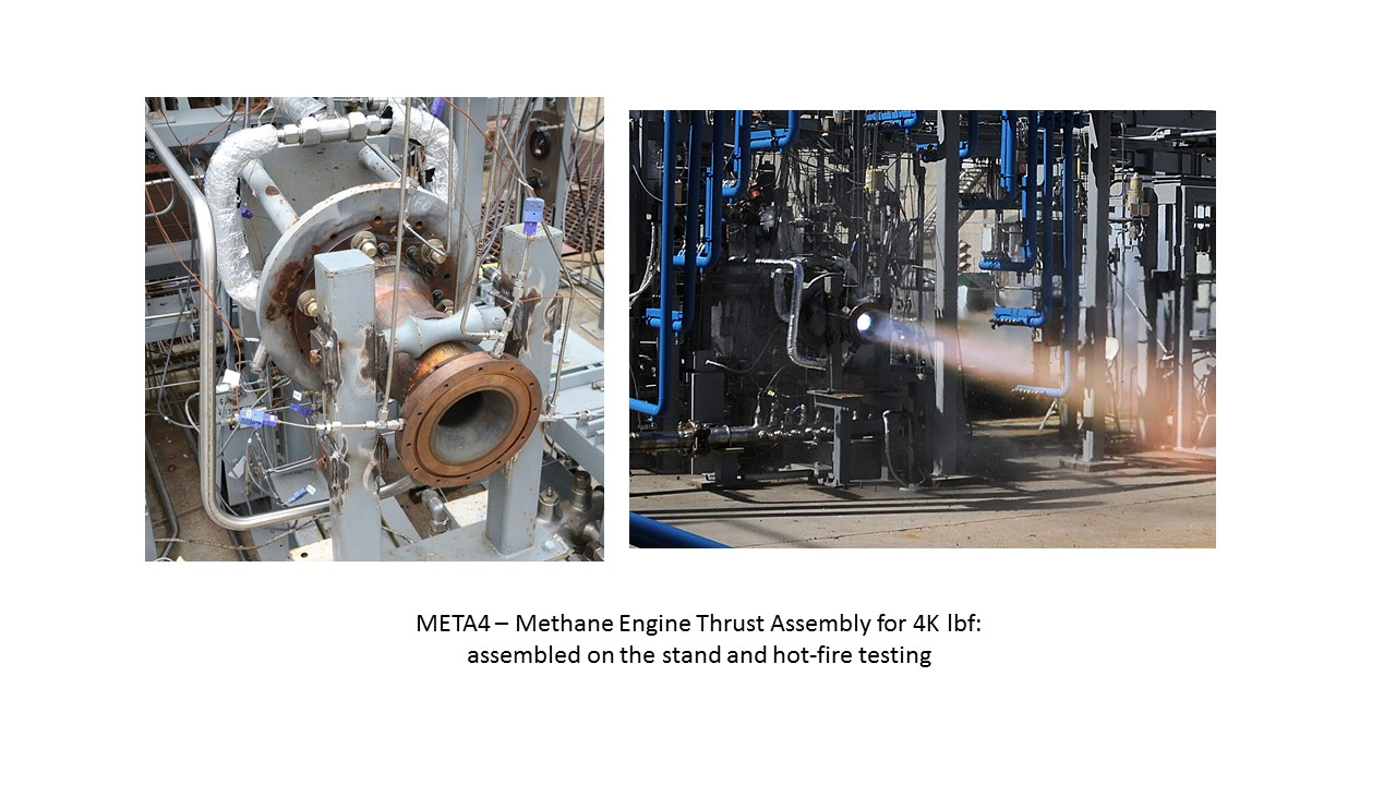 META4 – Methane Engine Thrust Assembly for 4K lbf: assembled onthestandand hot-fire testing