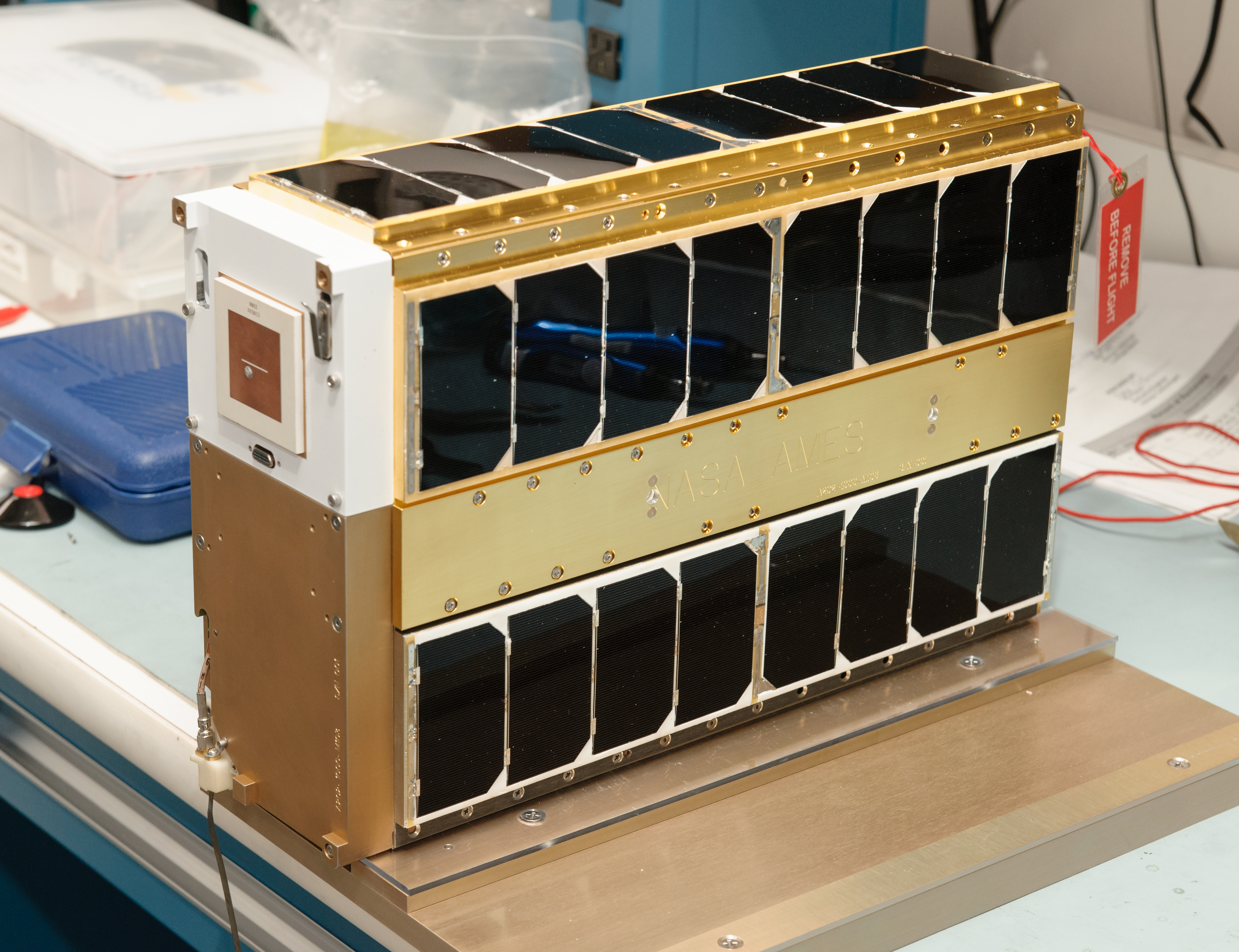 EcAMSat, which uses nanosatellite technology demonstrated on previous Ames missions, is an entirely autonomous satellite (about as big as a large box of cereal)