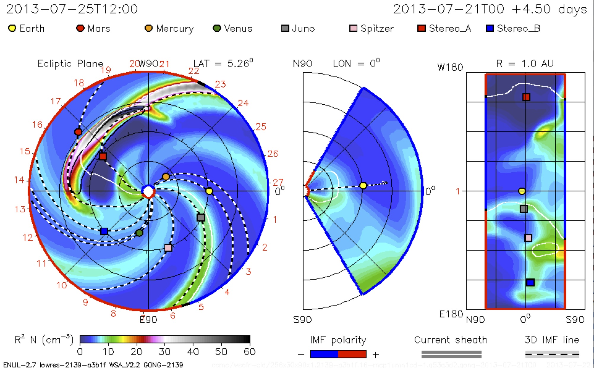 Image from model predicting CME trajectory through the inner solar system
